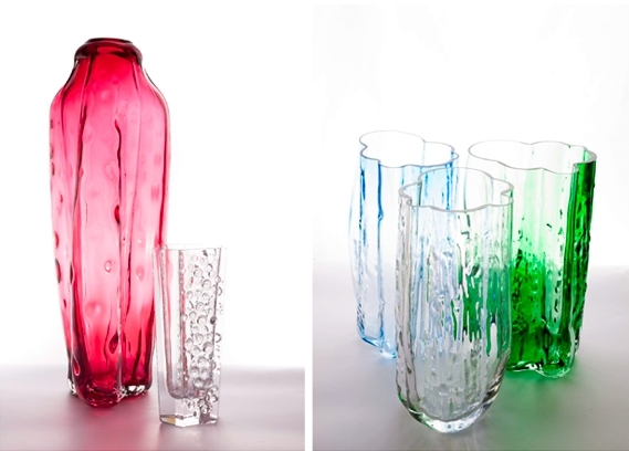 Vases Tranformation VH25590 a VH66, pressed glass, design Jaroslav Bejvl jr.